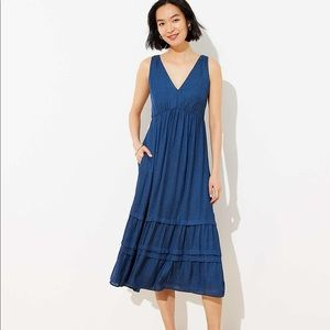 Spotted Tiered Pocket Midi Dress - Size 4